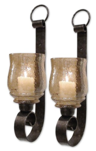 Zinc Decor Tuscan Scroll Forged Bronze Metal Amber Glass Candle Wall Sconce S/2 Old - Old Tuscan Iron