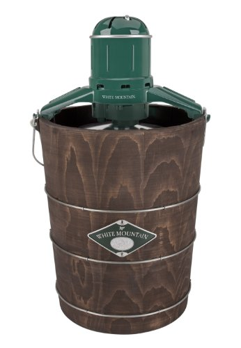 - White Mountain Electric Ice Cream Maker with Appalachian Series Wooden Bucket, 6 Quart (PBWMIME612-SHP)