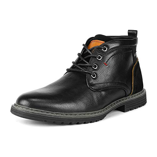Bruno Marc Men's Philly_12 Black Dress Combat Motorcycle Oxfords Boots Size 12 M US