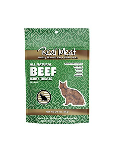 The Real Meat Company 828103 Cat Jerky Beef Treat, 3-Ounce (Meat Kitten Food Real)