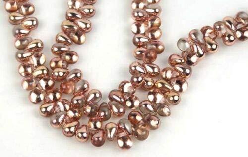 (50 Czech Glass Teardrop Beads - Half-Coat Apollo Gold 6x4mm)