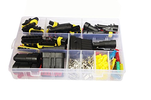 - Elepartpro 240pcs 1 2 3 4 5 6 Pin HID Car Motorcycle Waterproof Electrical Wire Connector Terminal Assortment Box Kit with Blade Fuses