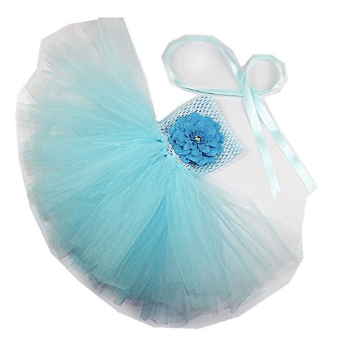 MizHome Baby Girls Birthday Crochet Sundress Tee Tutu Tube Dress With Peony Flower For Photography Shoots Light Blue M (Peony Tutu)