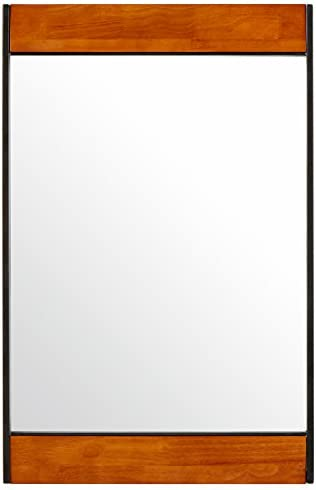 Amazon Brand Rivet Modern Wood and Iron Hanging Wall Mirror, 32.25 Inch Height, Brown and Black