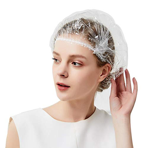 Disposable Shower Caps-120Pcs Plastic Shower Caps- Clear Waterproof Elastic Bath Caps For Spa, Hair Salon, Home Use, Hotel Use