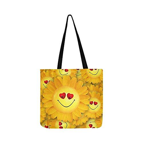(Smiley Joy Heart Love Smile Flower Yellow Canvas Tote Handbag Shoulder Bag Crossbody Bags Purses For Men And Women Shopping)