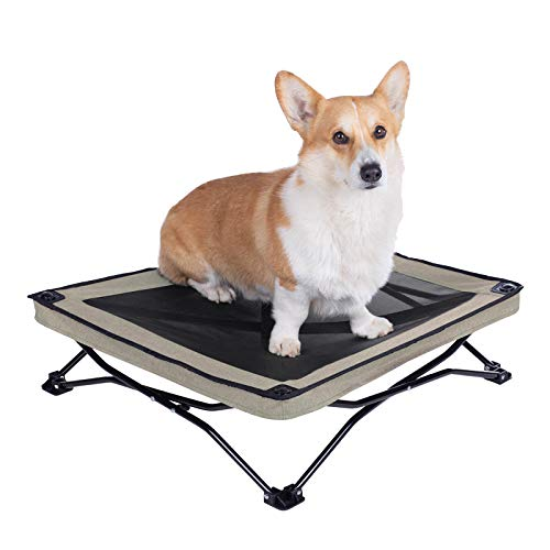 Veehoo Folding Elevated Dog Bed – Portable Raised Dog Cot for Camping, No Assembly Required, Cooling Pet Bed with Breathable & Washable Textilene Mesh for Indoor & Outdoor Use, Small, Beige Coffee