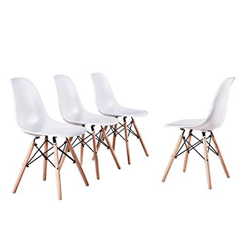 Alovhad Dining Chairs Set of 4 Modern Kitchen Furniture Side White Chairs Mid Century Dinning Room Home Furniture Plastic Wooden Legs Waiting Room Chairs Post Modern Chair