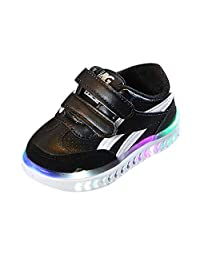 Anxinke Toddlers Casual Walking Shoes Hook and Loop LED Light Sneakers