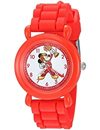 Boy's 'Mickey Mouse' Quartz Plastic and Silicone Casual Watch, Color:Red (Model: WDS000166)