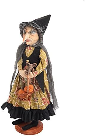 GALLERIE II Margery Witch Joe Spencer Gathered Traditions Art Doll On Stand Black