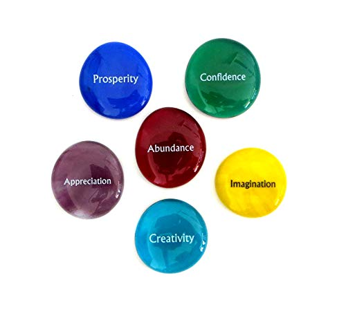 Lifeforce Glass Focus Stones, 6 Inspiring, Encouraging and Motivating Single Words Imprinted on Glass Stones, Inc. Set VI.
