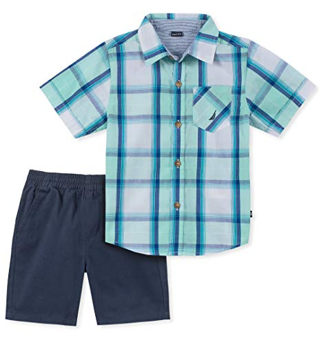 Nautica Sets (KHQ) Boys' Toddler 2 Pieces Shirt Shorts Set, Green Plaid, -