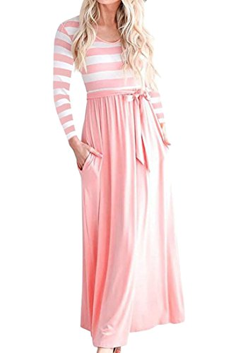 Knot Splice Stripe Tie Round Domple Neck Maxi Women's Party Dress Sleeve Long Pink Flared qWx68f