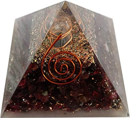 (Arts of creation Red Garnet Crystal Orgone Reiki Pyramid Kit/Includes 4 Crystal Quartz Energy Points/EMF Protection Meditation Birthday Gift Home Decor Wedding Gift Christmas Diwali Gift)