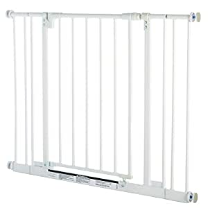 "Easy Close Gate, White, Fits Spaces between 28"" to 38.5"" Wide and 29""high"