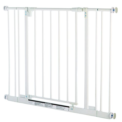 ''Easy-Close Gate'' by North States: The multidirectional swing gate with triple locking system - Ideal for doorways/between rooms. Pressure mount, fits openings 28'' to 38.5'' wide (29'' tall, Soft white) by North States