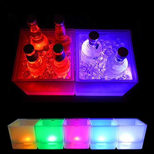 (3.5L LED Ice Bucket Glowing Drinks Cooler Buckets Champagne Wine Drinks Beer Ice Cooler For Bars Nightclubs KTV Pub Party)