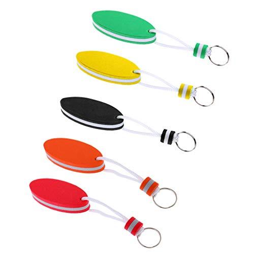 Pack of 5pcs Oval Shaped Foam Floating Boat Key Chain Ring Key ()