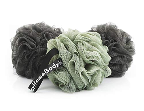 Luxury Bath Sponge Shower Pouf Large (70g) with Activated Charcoal 3 Pack ()