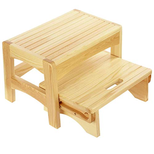 Welcare Handcrafted 100% Solid Wood Step Stool-Foot Stool Kitchen Stools Bed Steps Small Step Ladder Bathroom Stools.Australia Beechwood.Fully Assembled.Holds up to 300 Lb