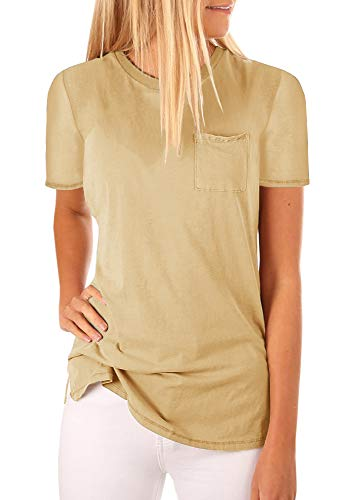 Mafulus Womens Short Sleeve Shirts Crew Neck Casual Loose Solid Tunic Tops with - Pocket Tank Tunic