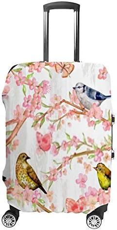 スーツケースカバー 伸縮素材 トランク カバー 洗える 汚れ防止 キズ保護 盗難防止 キャリーカバー おしゃれ 桜の木の上に鳥と蝶がいる ポリエステル 海外旅行 見つけやすい 着脱簡単 1枚入り