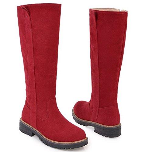85 Reißverschluss COOLCEPT Rot Damen Stiefel Lange 1nZ7q