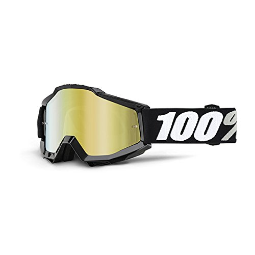 100% ACCURI Goggles Black Tornado - Mirror Gold Lens, One - Goggles Wholesale