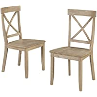 Home Styles Classic Dining Set of x Back Design Chairs in White Wash Finish
