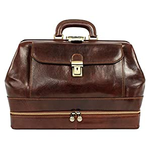 Time Resistance Full Grain Leather Doctor Bag Medical Bag Satchel Medium Brown
