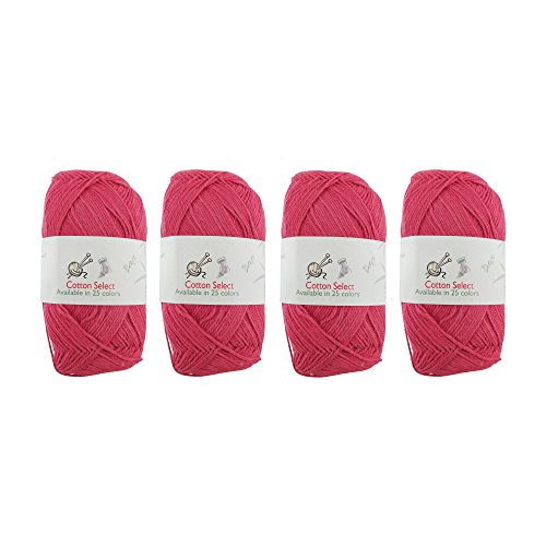 - Cotton Select Sport Weight Yarn - 100% Fine Cotton - 4 Skeins - Col 008 - Rosy Blush