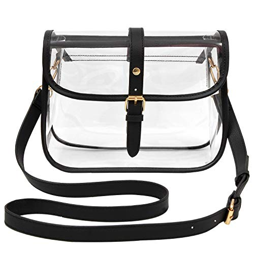 Y&R Direct Clear Purse Clear Bags for Women Stadium Approved Large PVC Gifts (Black-01)