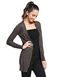 TheMogan Women's Junior & Plus Size V-Neck Button Down Longline Knit Cardigan
