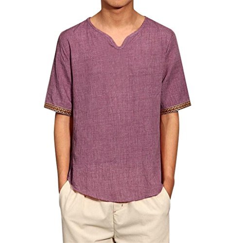 Clearance Sale! Wintialy Mens Traditional Linen Shirts Casual Short Sleeve V Neck Tops Loose Blouse - Final Sale Linen Shirt