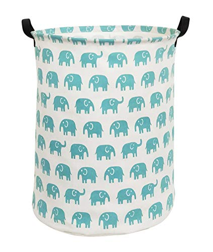 HIYAGON Canvas Storage Basket,Large Laundry Hamper with Handles-Collapsible Storage Bin for Kids Room,Nersury Hamper,Toy Storage 19.7×15.7(Blue Elephant) from HIYAGON