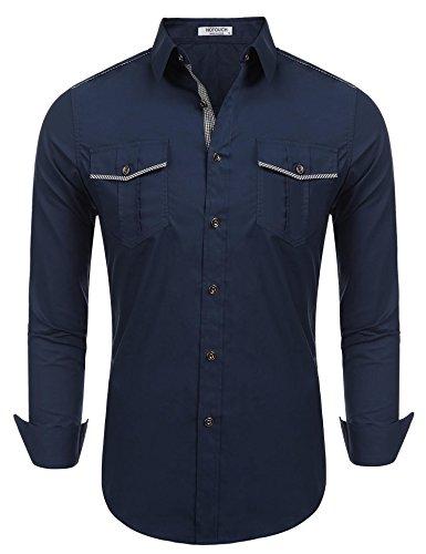 Cowboys Western Wear (HOTOUCH Men's Cowboy Cut Work Western Long-Sleeve Shirt,Navy Blue,XX-Large)