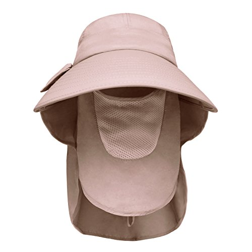 Lenikis Women s UPF50+ Sun Visor Foldable Wide Brimmed UV Protection Hat  with Detachable Flaps Khaki a7b006e8767f
