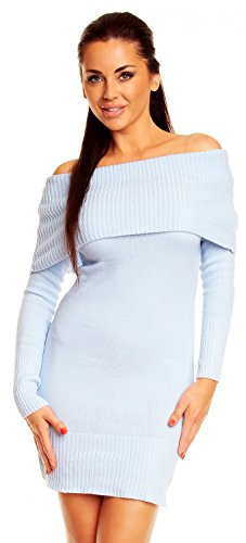 Zeta Ville - Womens Stretch Knitted Bardot Dress - 909z (Light Blue, 8/12) (Light Blue Off The Shoulder Dress compare prices)
