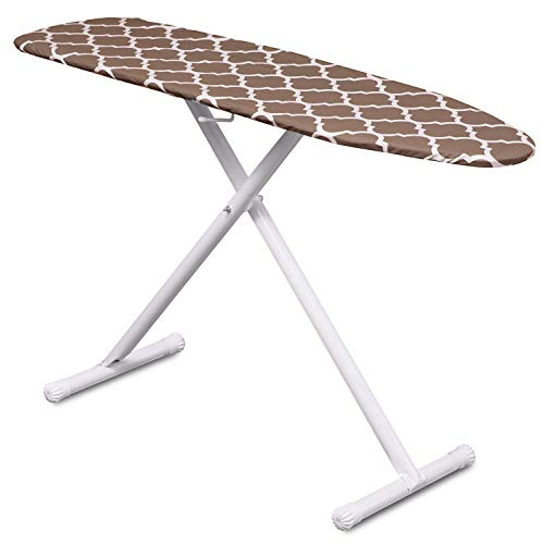 Mabel Home T-Leg Adjustable Height Ironing Board with Light-Brown/White Patterned Cotton Cover, Extra Cover (Best Rated Ironing Board)