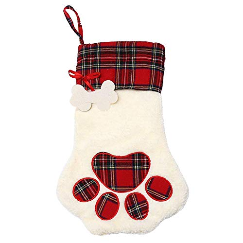 Christmas Stockings Plaid Dog Cat Pet 3D Large Christmas Stocking Kits for Christmas Decorations Holiday Party Xmas Unique Red White Burlap Plush Rustic Personalized Hanging Stockings 1 Pack Cat ()