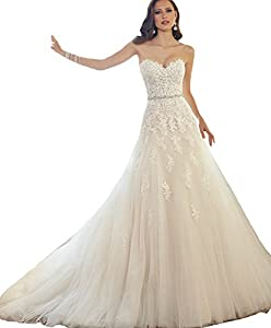 ScelleBridal Sweetheart Strapless A-line Lace Appliques Wedding Dresses for Bride