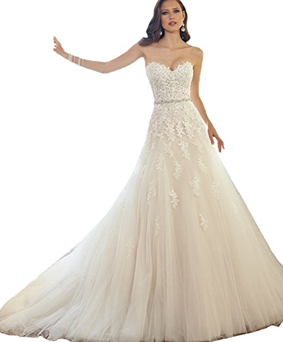 ScelleBridal Sweetheart Strapless A-line Lace Appliques Wedding Dresses for Bride White 14 ()