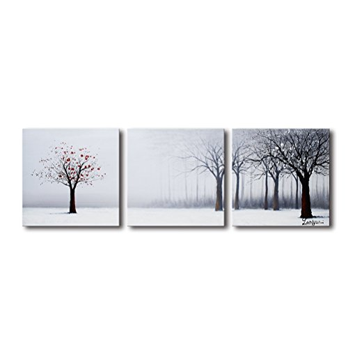 Oil Painting Plum - Tree Wall Art for Living Room 100% Hand Painted Oil Painting on Canvas 3 Piece Large Framed Modern Forest Landscape Artwork Plum Blossom in White Winter Office Bedroom Decor 20x60inch