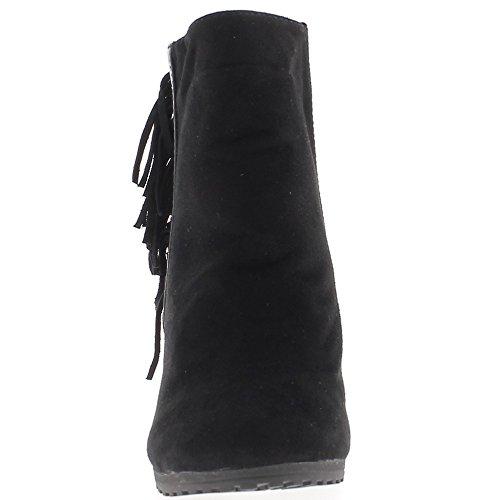 Stivali con zeppa nero con frange tacco 10cm foderato