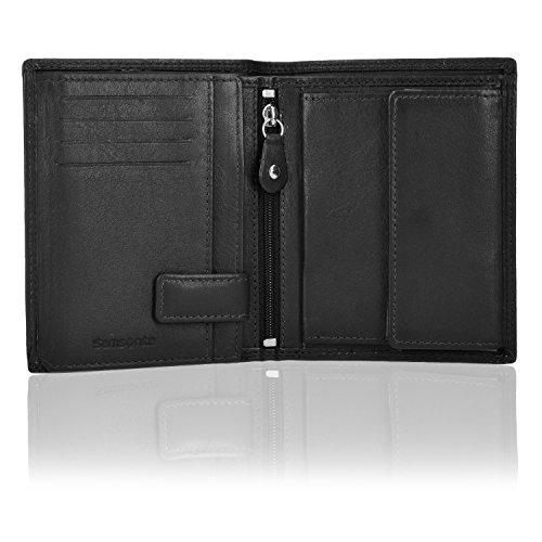 Samsonite Geldbörse Hochformat 78020 mit Klappfach und Reißverschlussfach Leder 10,5 cm black
