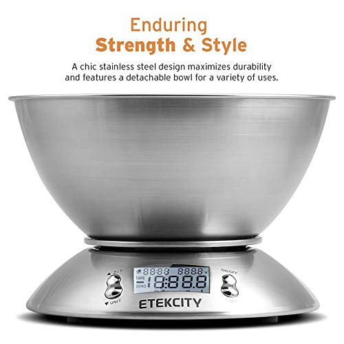 Etekcity Food Scale with Bowl, Timer, and Temperature Sensor, Digital Kitchen Weight for Cooking and Baking, 2.06 QT…