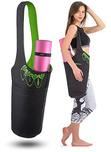 Zenifit Yoga Mat Bag - Long Tote with Pockets - Holds More Yoga Accessories. Cute Yoga Mat Holder with Bonus Yoga Mat Strap Elastics. Black and Lime Green Yoga Mat -
