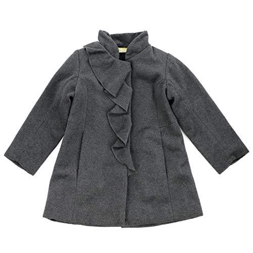 Peacoat Ruffle (Ana-Liza Mandarin Collar Wool Blend Ruffle Peacoat (Ash Gray, 3T))