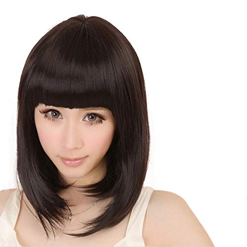 Densely WomensAir Bangs Short Straight Full Bangs BOBO Hair Cosplay Wig (LightBrown)